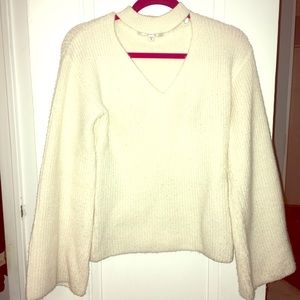 Guess cream bell sleeve choker neck sweater